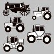 Tractor silhouette on gray background, vector illustration - Stok Vektör