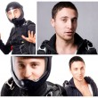 Collage of skydiver man portraits. — Stock Photo