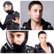 Stock Photo: Collage of skydiver mportraits.