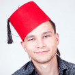 Man in red hat — Stock Photo