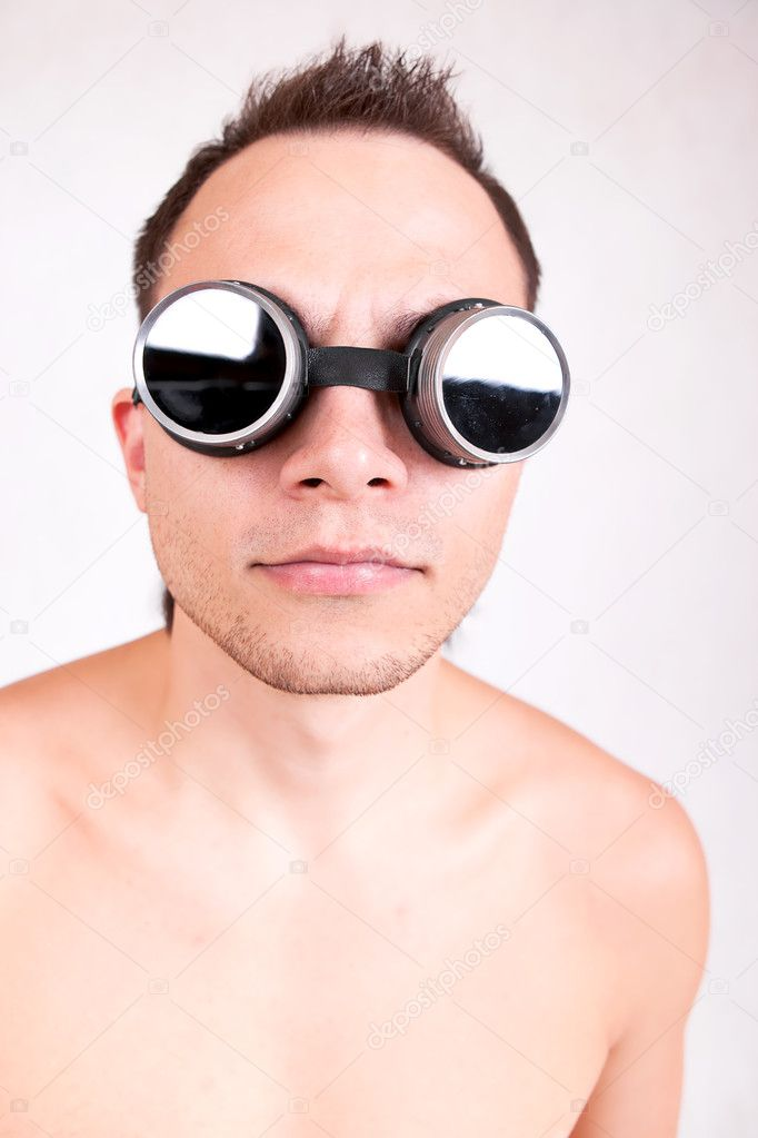Portrait of funny man in stylish glasses.  Stock Photo #8205634