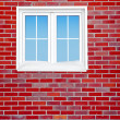 Brick wall with window — Stock Photo