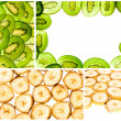 Simple collage of banana and kiwi slices — Stock Photo #8214448