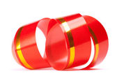 Red curl ribbon, isolated on white background — Stock Photo