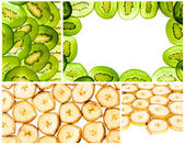 Simple collage of banana and kiwi slices — Stock Photo