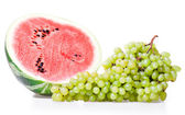 Watermelon and grapes — Stock Photo