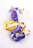 Gift box with bow on white. — Stock Photo