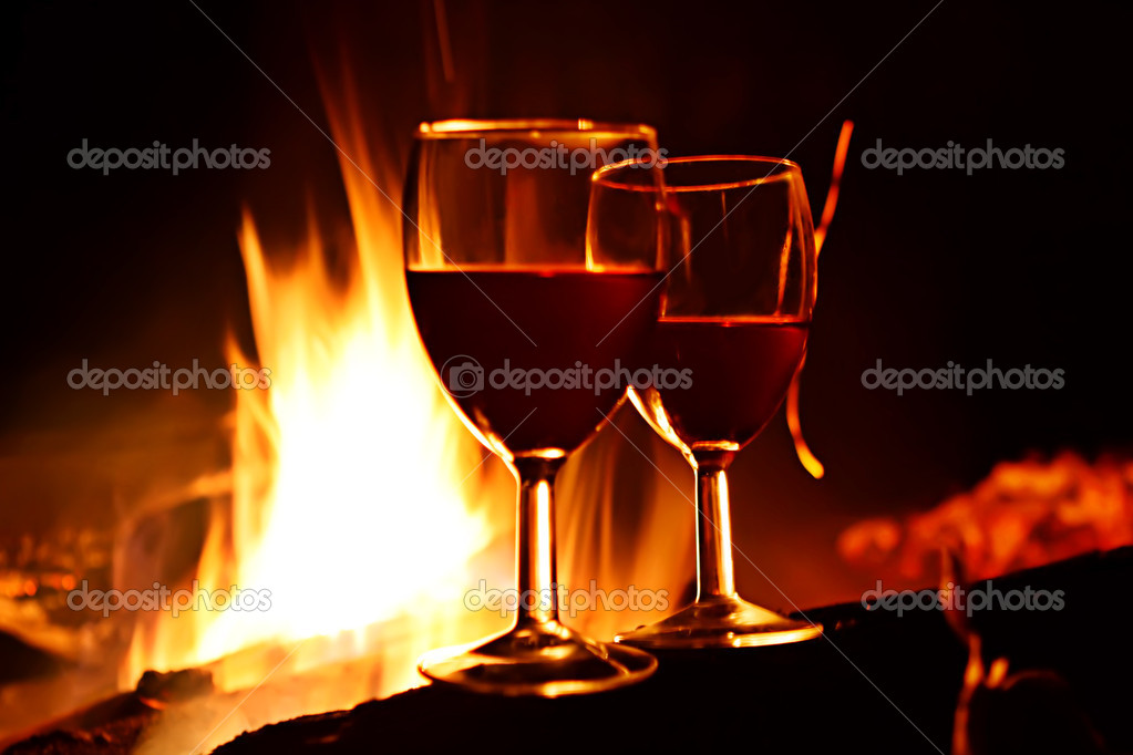 Night romance. Vine against fire. — Stock Photo #8213825