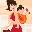 Active mother with baby girl in a sling — Stock Vector
