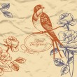 Retro floral background with bird — Vettoriali Stock