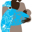 Beautiful mother silhouette with baby in a sling - Stock Vector