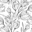 Floral seamless pattern with tulips - Stock Vector
