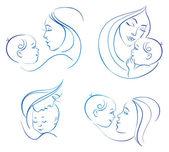 赤ちゃんと母親 — ストックベクタ