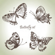 Set of butterfly. Hand drawn illustrations — Stock Vector