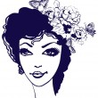 Beautiful woman silhouette with flowers and butterfly in her hai - Stock Vector
