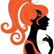 Beautiful girl silhouette profile - Stock Vector