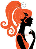 Beautiful girl silhouette profile — Stock Vector