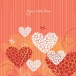 Love background with abstract hearts — Stock vektor