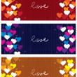 Horizontal love banners — Stock Vector