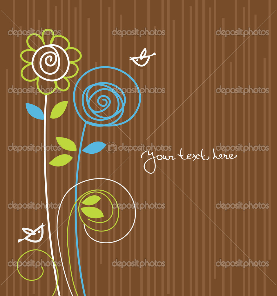 Floral background with cartoon birds  Stock Vector #8412248
