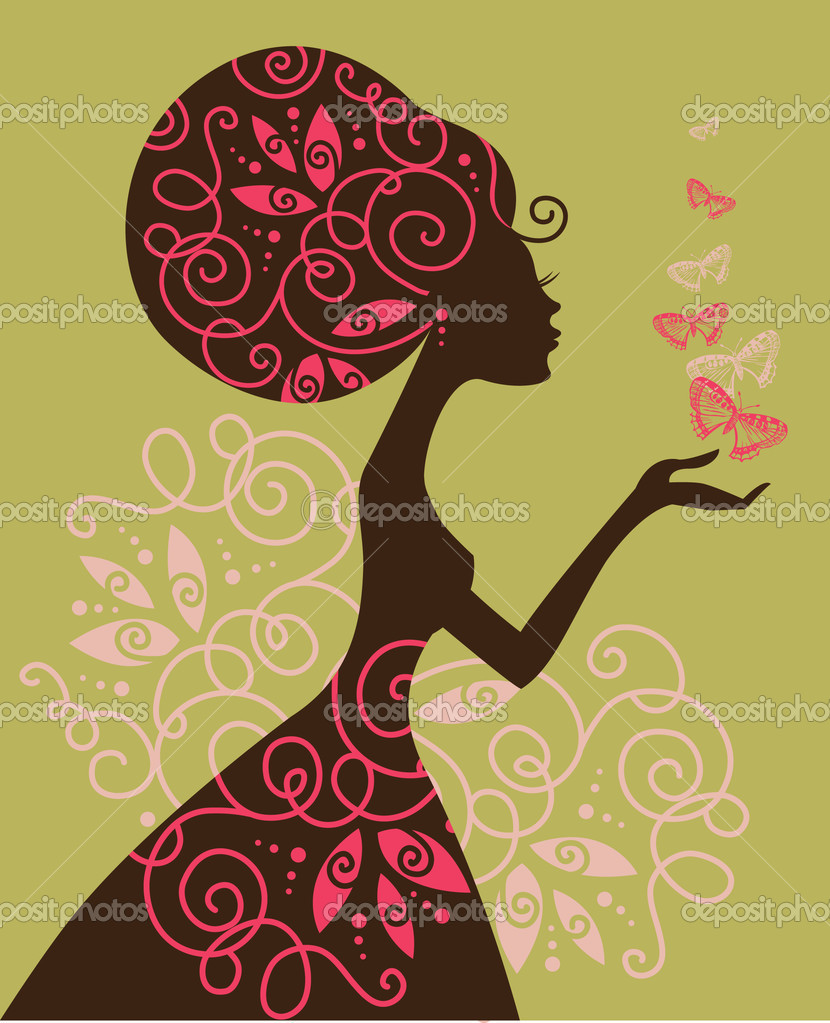 Beautiful girl with butterfly  Stock Vector #8412256