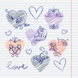 Hand-drawn love doodles in sketchbook — Vektorgrafik