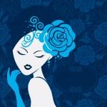Retro beautiful woman silhouette — Stock Vector