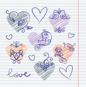 Hand-drawn love doodles in sketchbook — ストックベクタ