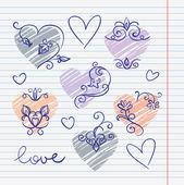 Handgetekende liefde doodles in schetsboek — Stockvector