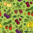Seamless pattern of fruits and berries — Stock Vector