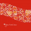 Love background with abstract hearts. Valentine card - Stock Vector