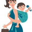 Stock Vector: Active mother with baby in sling