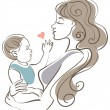 Stock Vector: Mother and baby