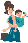 Active mother with baby in a sling — Stock Vector