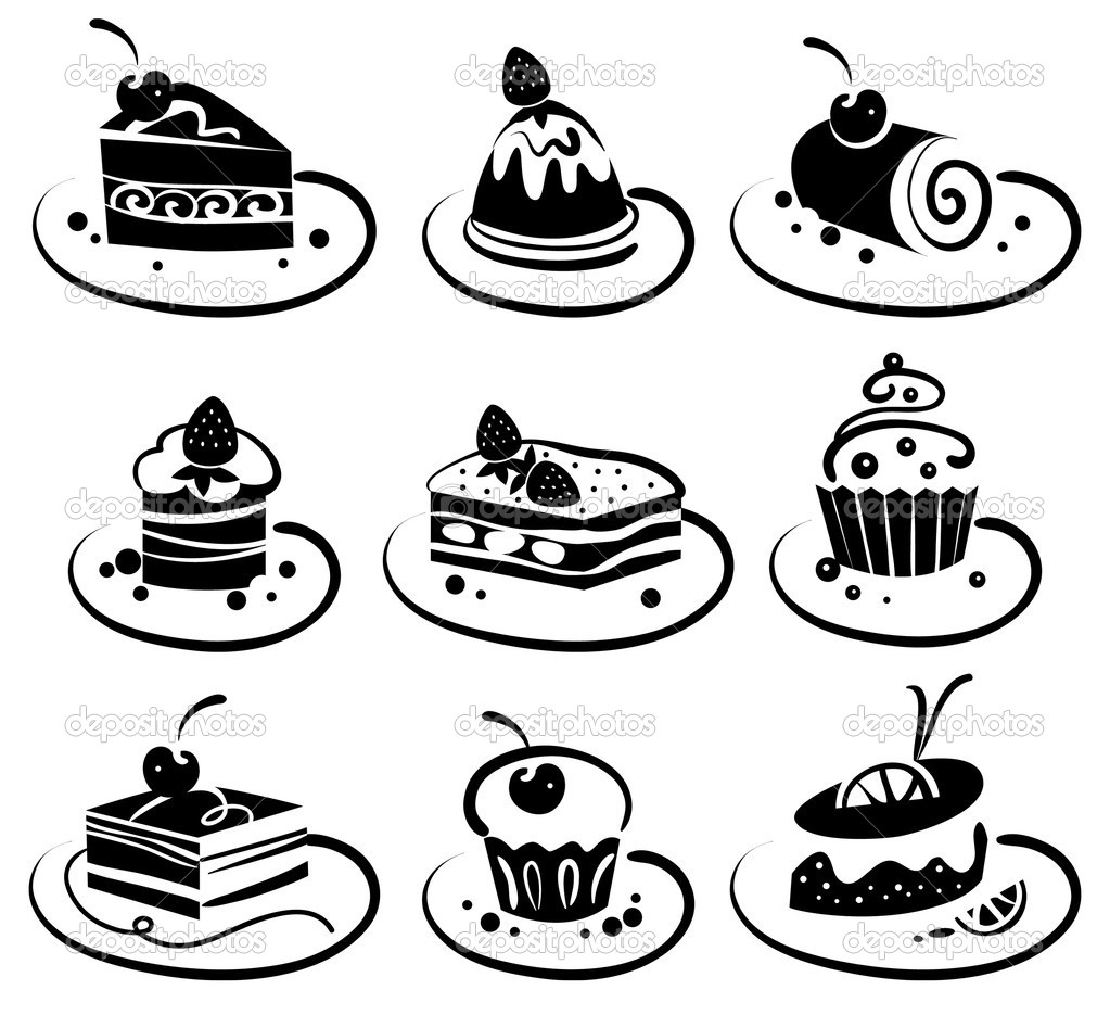 Cake Line Art Vector Free Download : Set of cakes   Stock Vector ? pimonova #8842629
