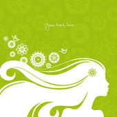 Background with beautiful girl silhouette — Stock Vector