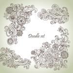 落書きのセット。手描き抽象花イラスト — ストックベクタ