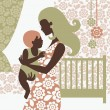 Royalty-Free Stock Vector Image: Beautiful mother silhouette with baby in children