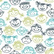Seamless pattern of baby cartoon faces — Stock Vector