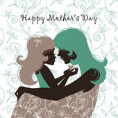 Card of Happy Mother's Day. Beautiful mother silhouette with h — Stockvector