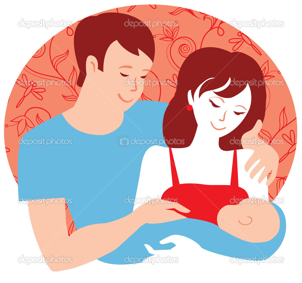 家庭.初生男婴的年轻父母— 矢量图片作者 pimonova