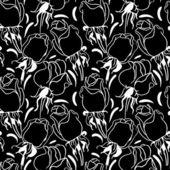 Sömlös blommönster. svartvit illustration — Stockvektor