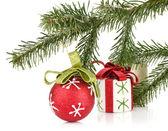 Christmas decor with fir tree — Stock Photo