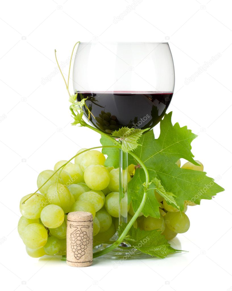 Red wine glass and grapes. Isolated on white background  Stock Photo #8419131