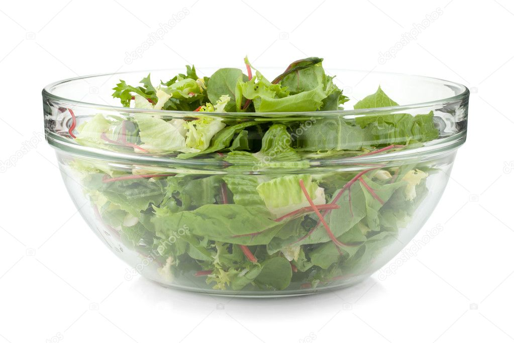 Healthy green salad. Isolated on white background  Stock Photo #8419164