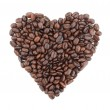 Heart shape made from coffee beans — Stock Photo
