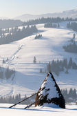 Winter haystack in Carphatian mountains, Ukraine — Stock Photo