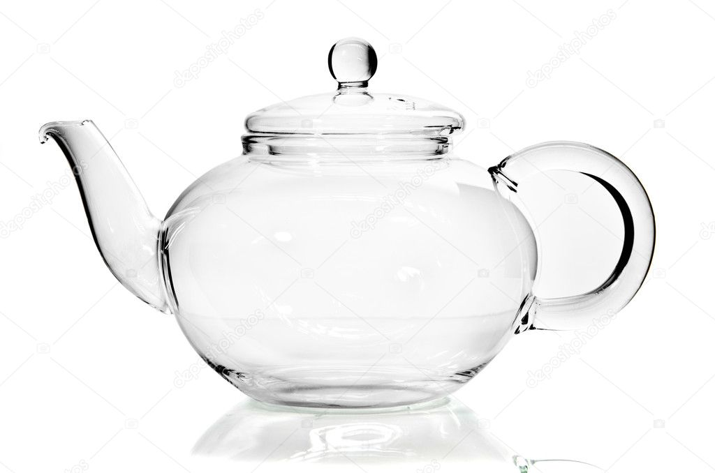 Empty glass teapot on white background  Stock Photo #10375594