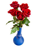 Red roses in blue vase — Stock Photo