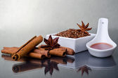 Star anise, cinnamon and flax — Stock Photo